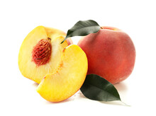 Sweet Cut Peaches On White Background