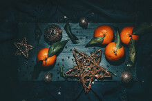 Still Life With Tangerines And Christmas Decorations