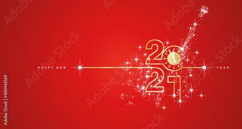 New Year 2021 countdown line design firework champagne gold white red background vector