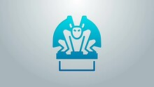 Blue Line Gargoyle On Pedestal Icon Isolated On Grey Background. 4K Video Motion Graphic Animation
