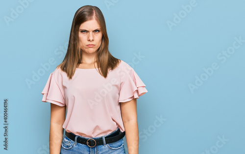 Fotografie, Obraz Beautiful caucasian woman wearing casual clothes skeptic and nervous, frowning upset because of problem