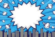コミックアート風の吹き出しがある都市の背景素材