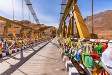 Chicham Bridge Is Suspension Stiffened Steel Truss Bridge At Altitude Of 4145m Over 1000 Feet Gorge Of 'samba Lamba' Rivulet Connecting Chicham And Kibber Villages In Spiti Valley Of Himachal Pradesh.
