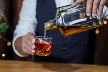 Bartender Serve Whiskey, On Wood Bar,