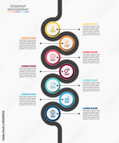 Fotografia Business road map timeline infographic icons designed for abstract background te