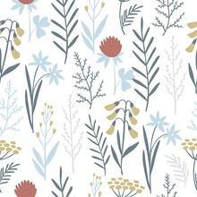 Handdrawn Leaves House And Wildflowers. Wild Flowers In A Modern Style. Seamless Pattern For Home Decor And Textile.