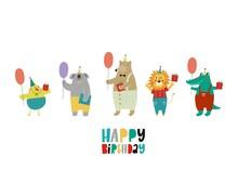 Cute Happy Birthday Card With Funny Animals. Happy Birthday Animas Vector Print. Cartoon Character Bird, Koala, Bear, Lion,  Crocodile