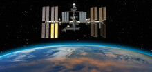 International Space Station ISS Over Planet Earth