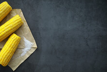 Freshly Made Fragrant Ear Of Corn With Salt. Farm Snack Of Fresh Corn. Healthy Breakfast And Healthy Lifestyle Concept.