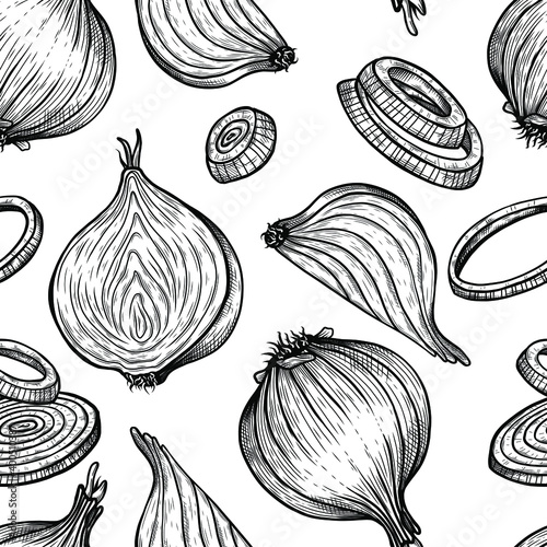 Fototapeta seamless pattern vector sketch illustration of onion set drawing isolated on white. Engraved style. Ink. natural business. Vintage, retro object for menu, label, recipe, product packaging obraz