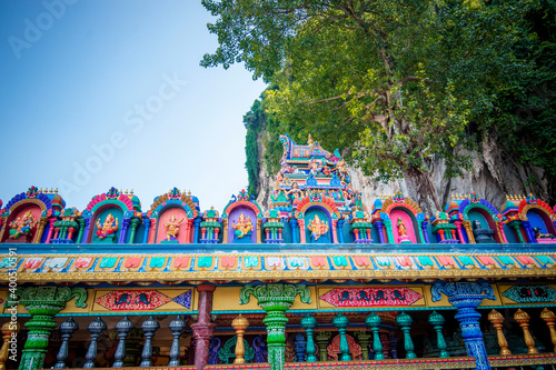 Canvas-taulu The famous and iconic limestone with rainbow colored stairs at Murugan Temple Batu Caves becomes a new attraction for tourism in Malaysia