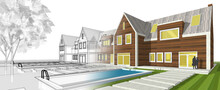 Architecture Traditional Style Townhouse 3d Illustration