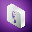 Isometric line Microphone icon isolated on purple background. On air radio mic microphone. Speaker sign. Silver square button. Vector Illustration