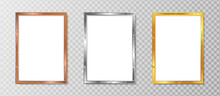 White Blank Picture Frame, Realistic Vertical Picture Frame, A4. Empty White Picture Frame Mockup Template Isolated. Luxury And Elegant Vector Design Illustration With Gold, Silver And Bronze Color