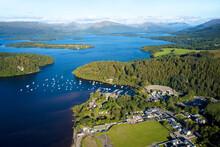 Aerial View Of Balmaha Scottish Village At Loch Lomond