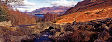 A Beautiful And Peaceful Panoramic View Of Ashness Bridge In Autumn