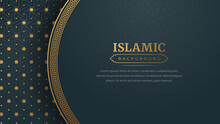 Islamic Arabic Golden Ornament Border Pattern Background With Copy Space For Text