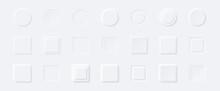 Neumorphism Style Elements Vector Set. Modern Website Or Mobile App Design. Minimal Style Neumorphism Buttons Or Icons. Neumorphic UI UX Design Collection.