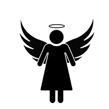 Businessman With Wings Logo. Angel Silhouette. Illustration