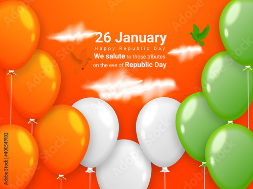 Fotografía Indian Republic day concept with text 26 January