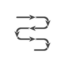 Vector Path Icon With Direction Indicator Arrow On Cartoon Style On White Isolated Background.
