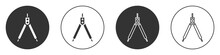 Black Drawing Compass Icon Isolated On White Background. Compasses Sign. Drawing And Educational Tools. Geometric Instrument. Circle Button. Vector Illustration.