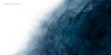Abstract Watercolor Paint Background Dark Blue Color Grunge Texture And White Space For Text.