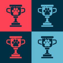Pop Art Pet Award Symbol Icon Isolated On Color Background. Medal With Dog Footprint As Pets Exhibition Winner Concept. Vector.