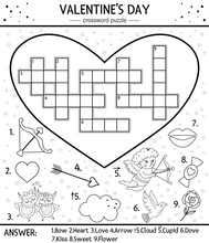 Vector Saint Valentine Day Black And White Crossword Puzzle For Kids. Simple Heart Shaped Quiz With Holiday Objects Or Coloring Page. Educational Activity With Traditional Elements And Love Theme.