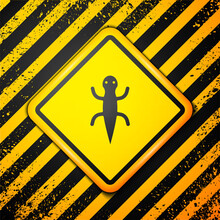 Black Lizard Icon Isolated On Yellow Background. Warning Sign. Vector.