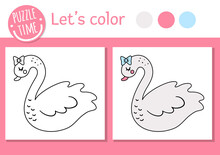 Saint Valentine Day Coloring Page For Children. Funny Swan With Bow. Vector Holiday Outline Illustration With Cute Bird. Color Book With Adorable Animal For Kids With Colored Example.