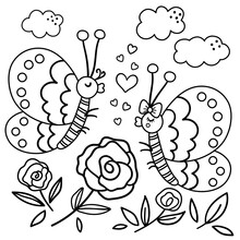 Vector Saint Valentine Day Black And White Background With Cute Insects. Funny Scene With Two Enamored Butterflies In The Garden. Funny Illustration Or Coloring Page For Kids With Love Concept..