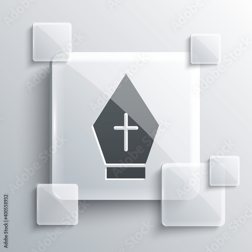 Foto Grey Pope hat icon isolated on grey background