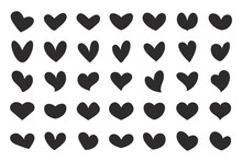 A Beautiful Set Of Love Heart Shaped Silhouettes For Decorating Greeting Cards On Valentines Day.