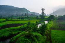 Hills Station Western Ghat Kalsubai Village Green Outdoor Monsoon