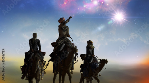 Valokuvatapetti Christian Christmas scene with the three wise men and shining star, 3d render