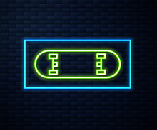 Glowing Neon Line Skateboard Trick Icon Isolated On Brick Wall Background. Extreme Sport. Sport Equipment. Vector Illustration.