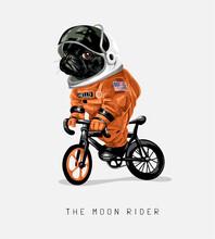 Moon Rider Slogan With Cartoon Black Dog Riding Bicycle Illustration