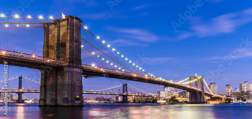 Brooklyn Bridge at sunset view. Manhattan.