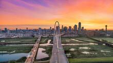 Dallas, Texas, USA Downtown Drone Skyline Aerial