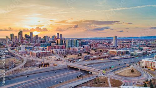 Photo Denver Colorado CO Skyline Aerial Panorama