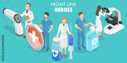 Fototapeta 3D Isometric Flat Vector Conceptual Illustration of Coronavirus Front Line Heroes, Doctors Team fighting Against COVID-19