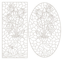 Set Of Contour Illustrations In Stained Glass Style With Floral Still Lifes, Dark Contours On A White Background