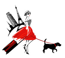 Young Attractive Woman Wearing Fashion Clothes With Suitcase And Beagle Dog - Travel With Pets Concept Vector Copy Space Sketch Design