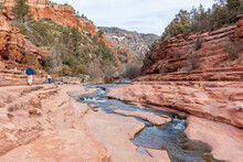 ARIZONA, USA - DECEMBER 31, 2017:  Slide Rock State Park Is A State Park Of Arizona, USA, Taking Its Name From A Natural Water Slide Formed By The Slippery Bed Of Oak Creek.