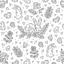 Hand-drawn Vector Doodle Illustration With Bunnies, Chickens, Easter Eggs. Seamless Pattern Of Outlines For Easter. Coloring Book