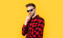 Design Is Perfect. Bearded Man With Sexy Bristle In Glasses. Facial Hair And Skin Care. Handsome Man Wear Checkered Shirt. Unshaven Guy In Casual Style. Hairdresser And Barbershop. Male Beauty Trend