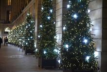 Spins De Noël Scintillant Dans La Nuit