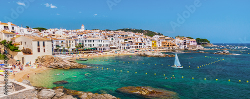 Calella de Palafrugell, traditional whitewashed fisherman village and a popular travel and holiday destination on Costa Brava, Catalonia, Spain Fotobehang