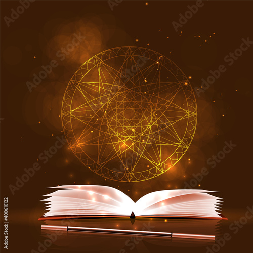 Canvas Print Vector background magic and sorcery, evil and good magic.
